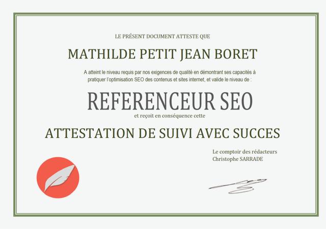 Certification - Référenceur SEO