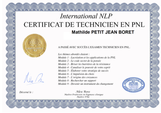 Certification - Technicienne PNL